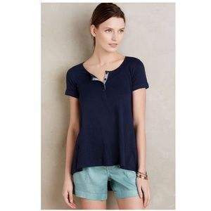 Anthropologie Downtime Henley Tee New Top Navy S